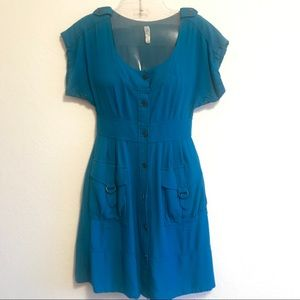 Anthropologie Maeve Blue Button Front Dress